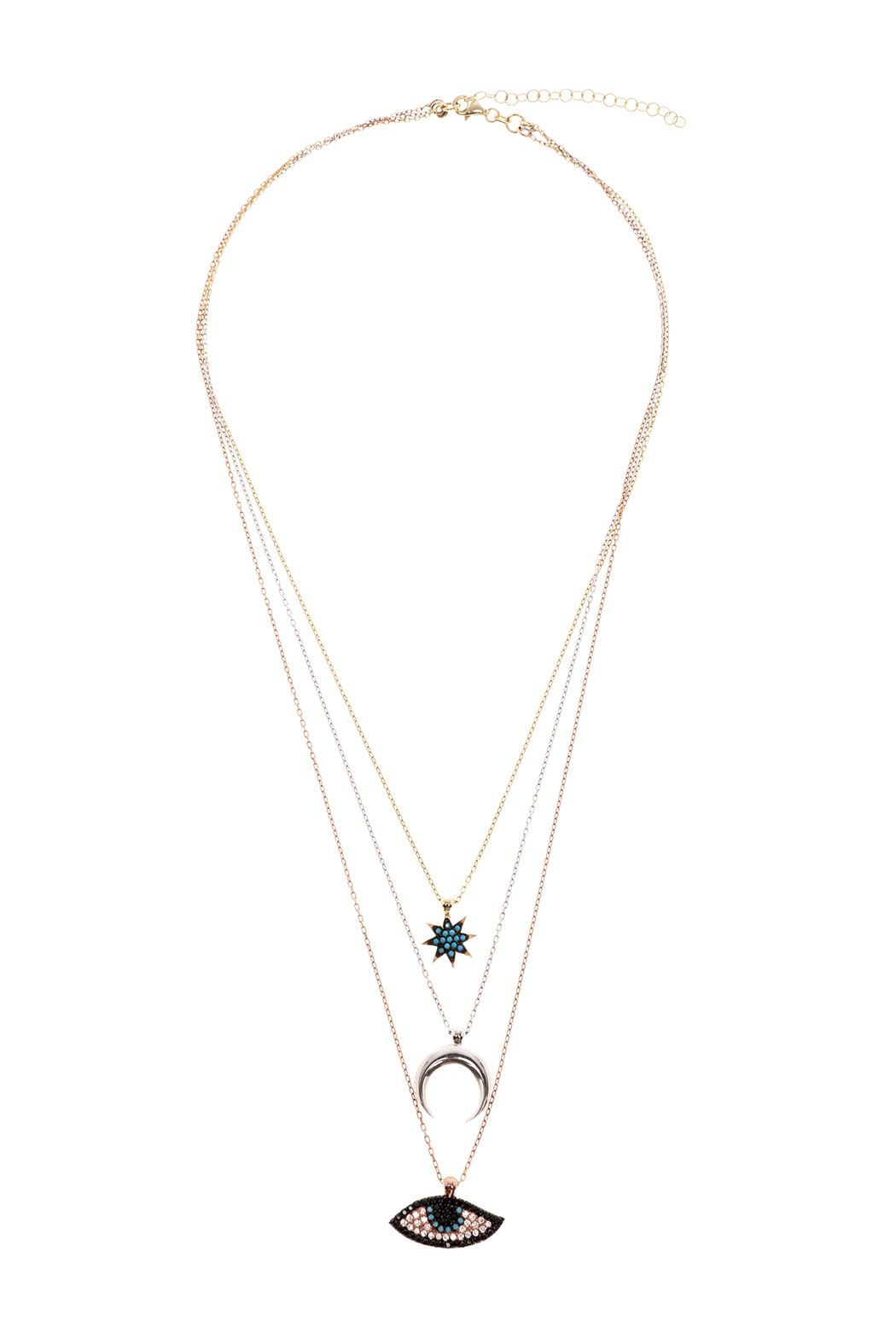 Lets Accessorize Tri Color Layered Necklace - Main Image
