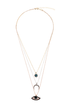 Lets Accessorize Tri Color Layered Necklace - Product List Image