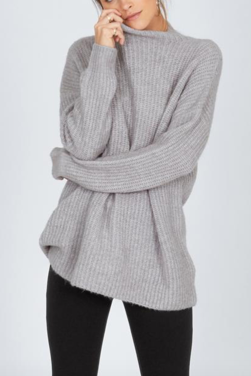 AMUSE SOCIETY Lets Snuggle Sweater - Front Full Image