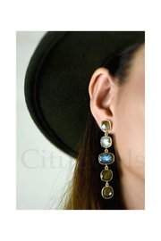 Lets Accessorize 5-Stoned Earrings - Front full body