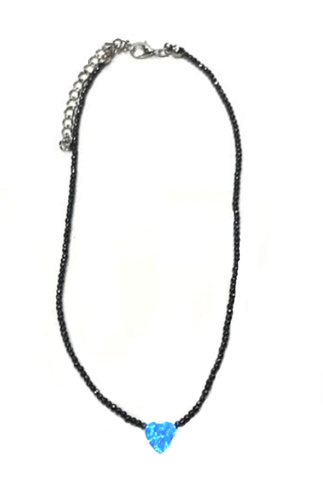 Lets Accessorize Beaded Heart Choker - Front Cropped Image
