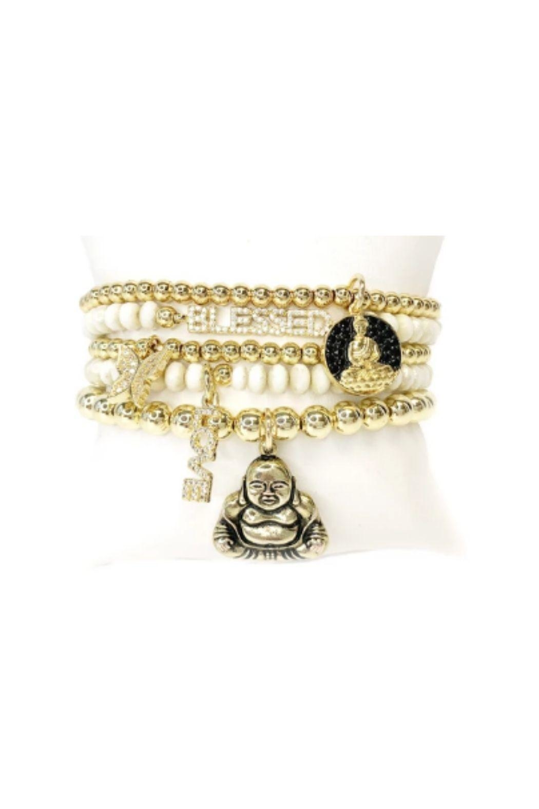 Lets Accessorize Blessed Buddha Beaded Stack - Front Cropped Image