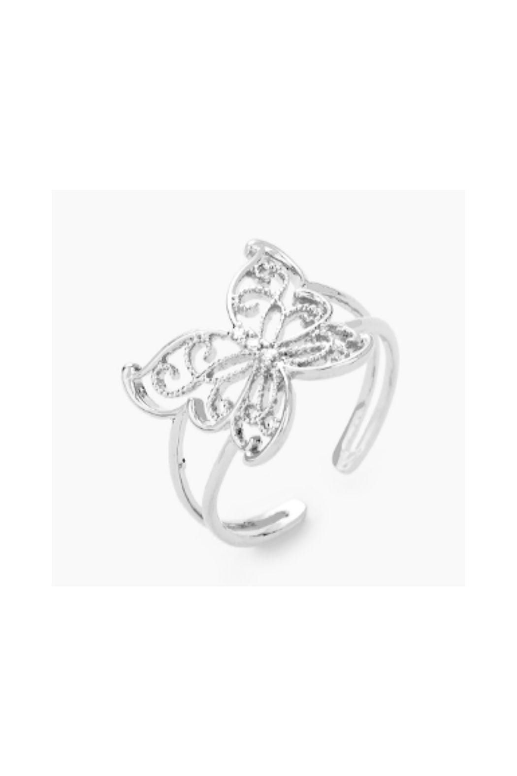 Lets Accessorize Butterfly Cuff Ring - Front Cropped Image