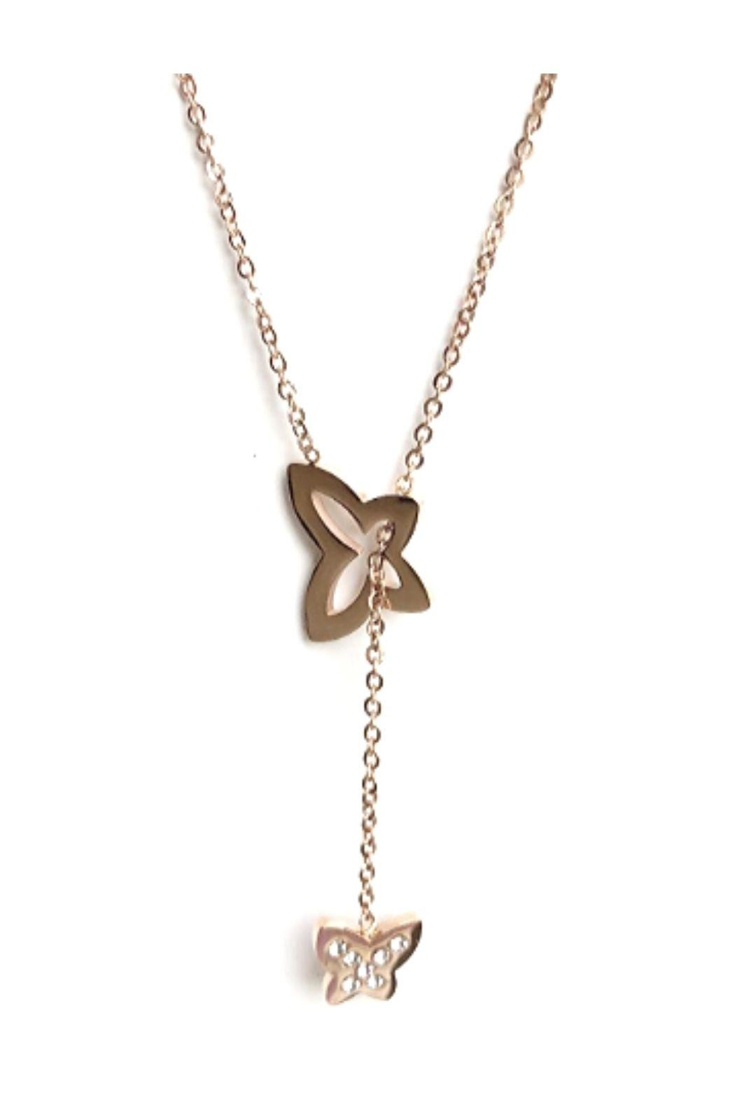 Lets Accessorize Butterfly Lariat Necklace - Main Image