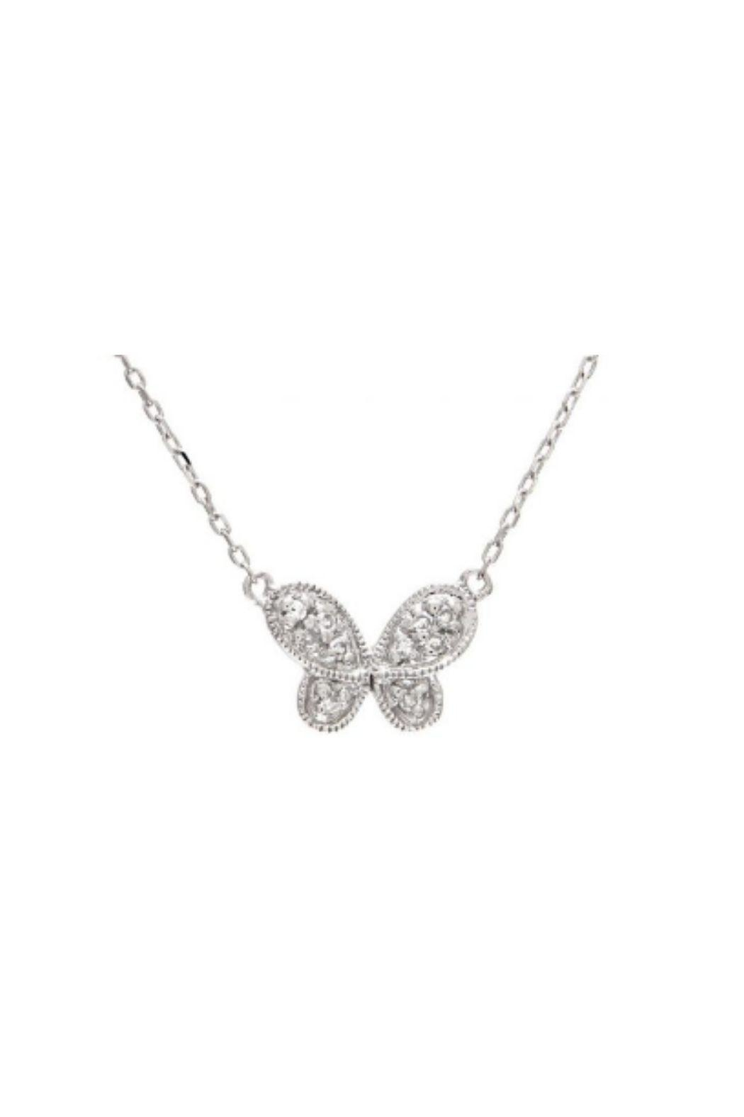Lets Accessorize Butterfly Pave Necklace - Front Cropped Image