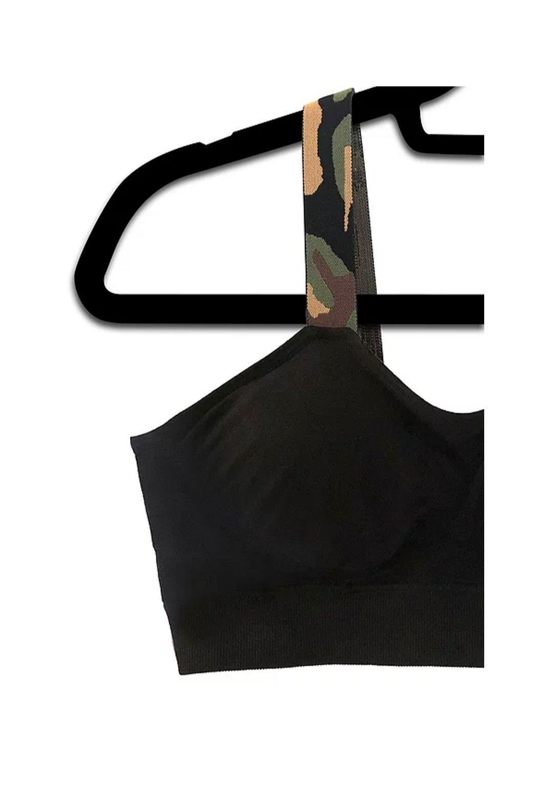 Lets Accessorize Camo Strapped Bra - Front Cropped Image