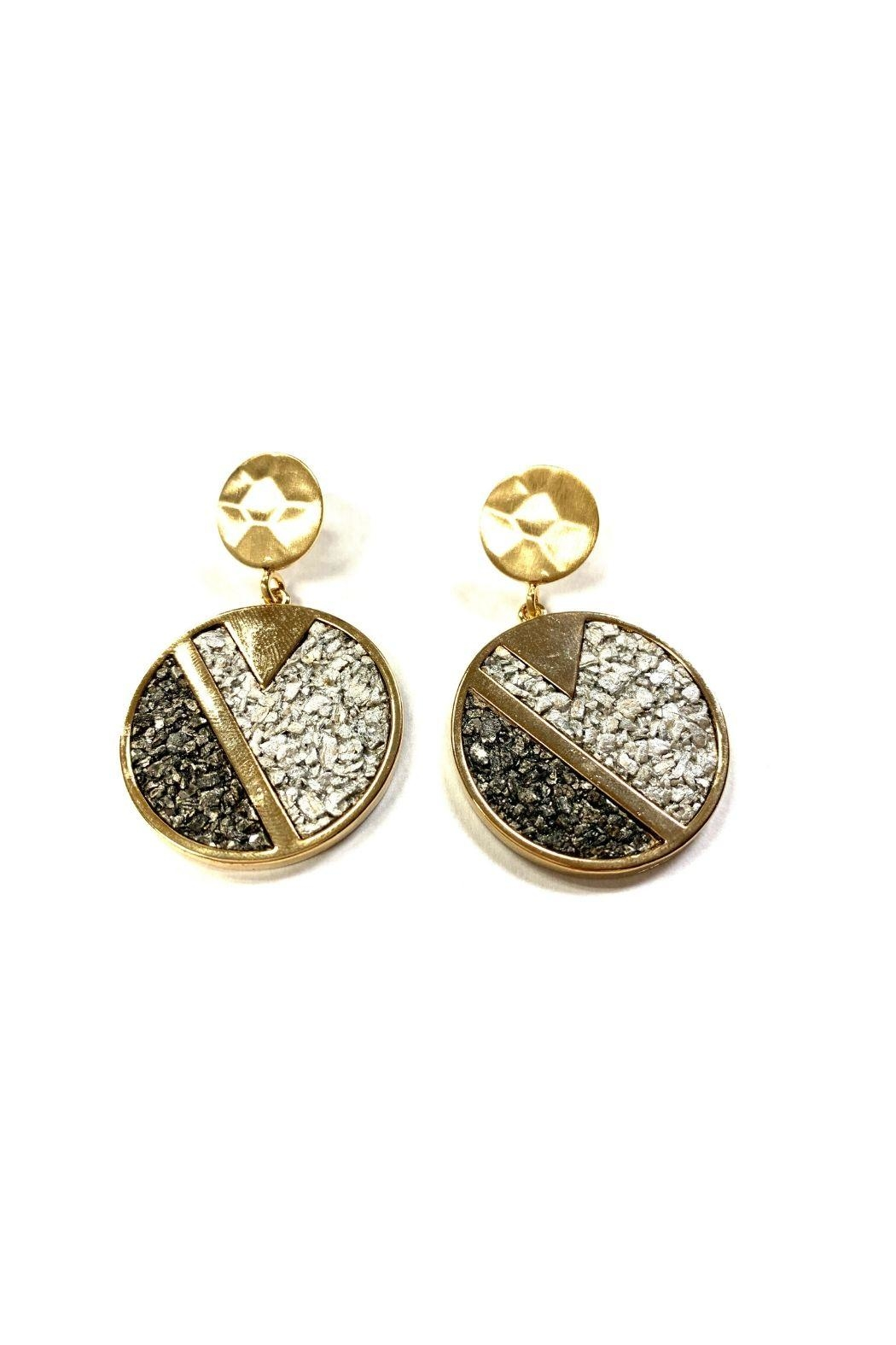 Lets Accessorize Circular Faux Druzy Earrings - Main Image