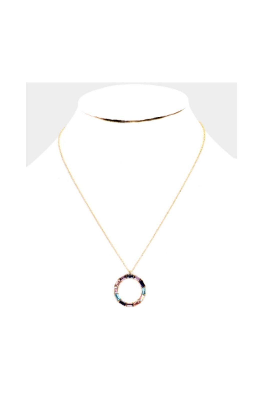 Lets Accessorize Colorful Stone Circle Necklace - Front Cropped Image