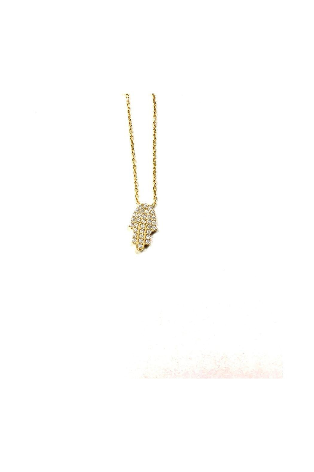 Lets Accessorize Cz Hamsa Necklace - Front Cropped Image