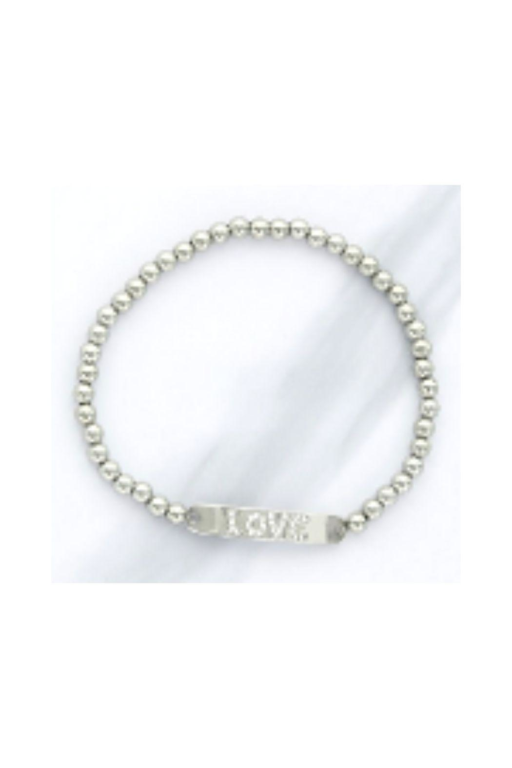 Lets Accessorize Cz Love Beaded Bracelet - Front Full Image
