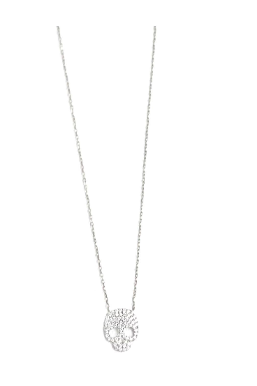Lets Accessorize Cz Skull Necklace - Front Cropped Image
