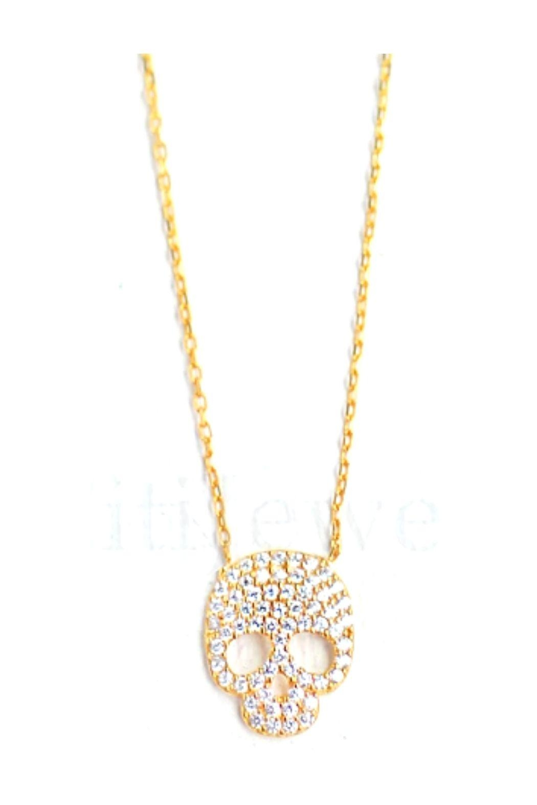 Lets Accessorize Cz Skull Necklace - Front Full Image