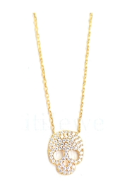 Lets Accessorize Cz Skull Necklace - Front full body
