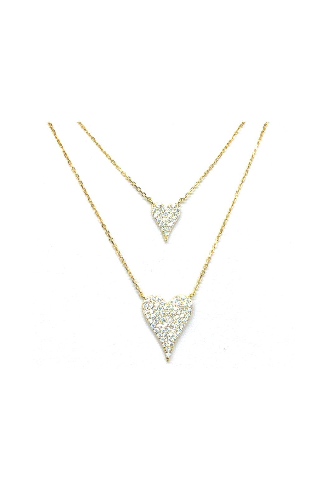 Lets Accessorize Double Pave Heart - Front Cropped Image