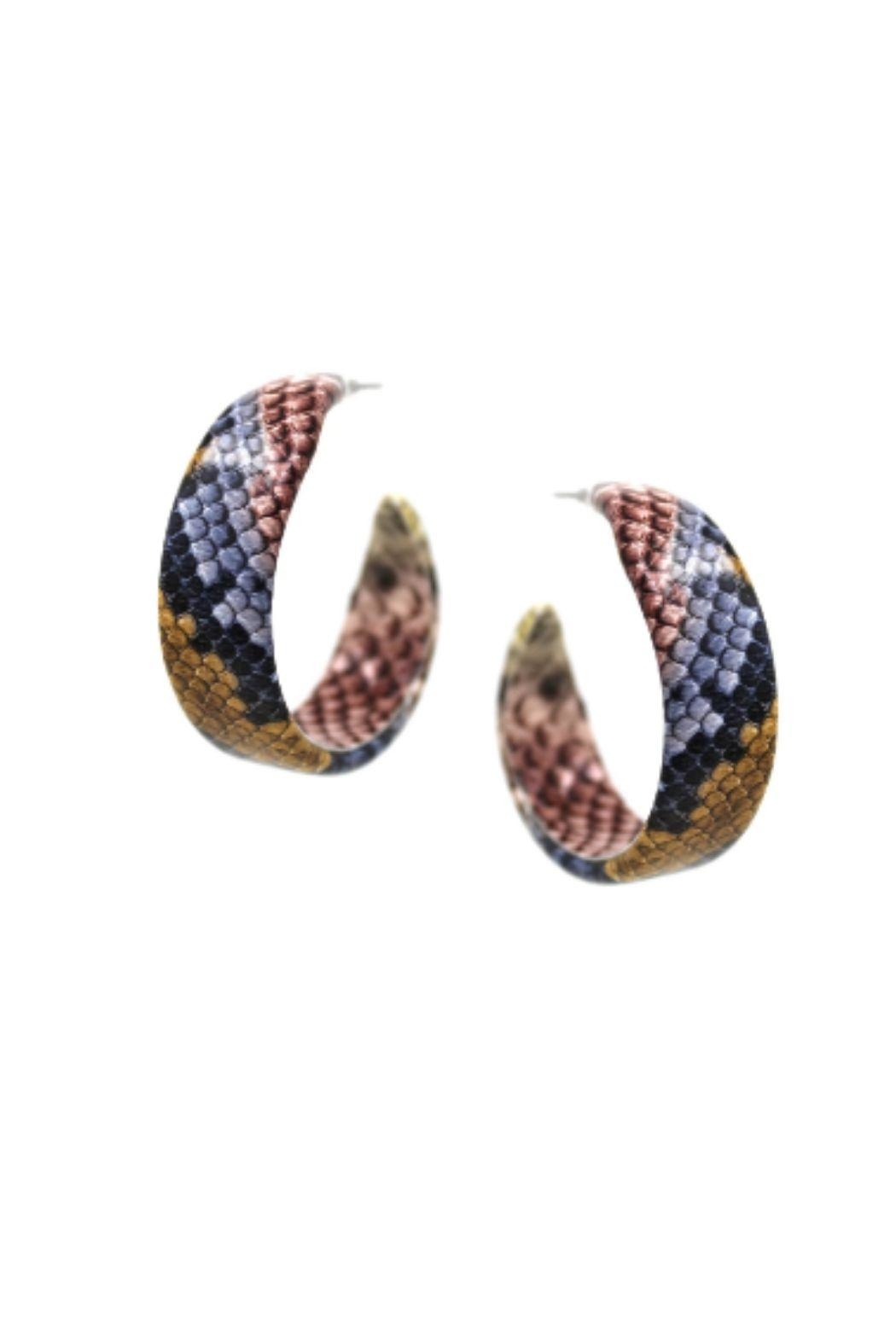 Lets Accessorize Faux Leather Reptile Hoops - Main Image