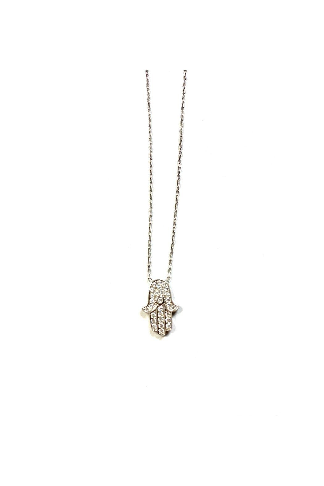 Lets Accessorize Hamsa With Cz Stone Necklace - Front Full Image
