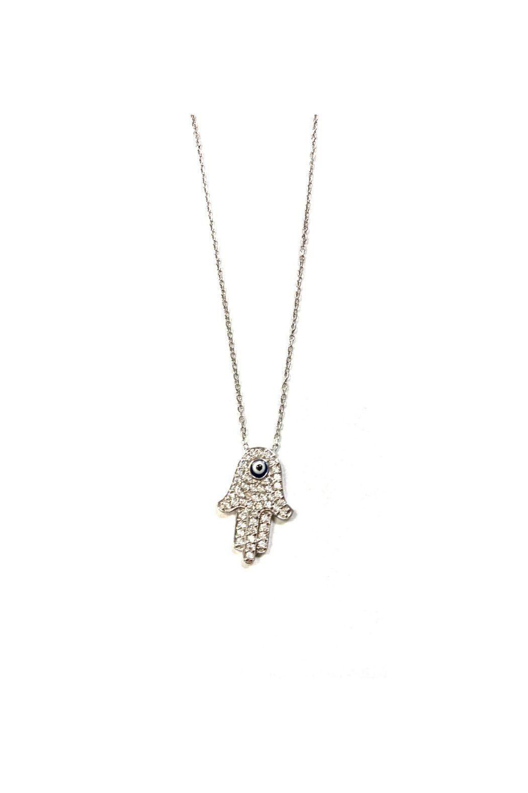 Lets Accessorize Pave Hamsa With Evil Eye Necklace - Front Full Image