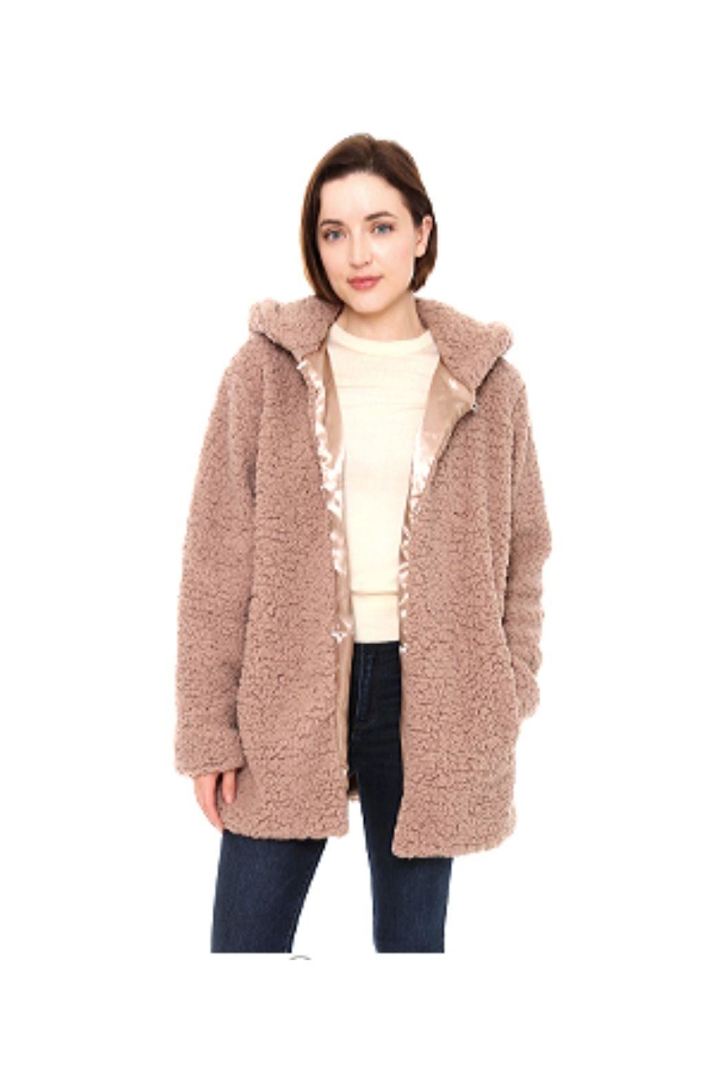 Lets Accessorize Hooded Sherpa Jacket - Main Image