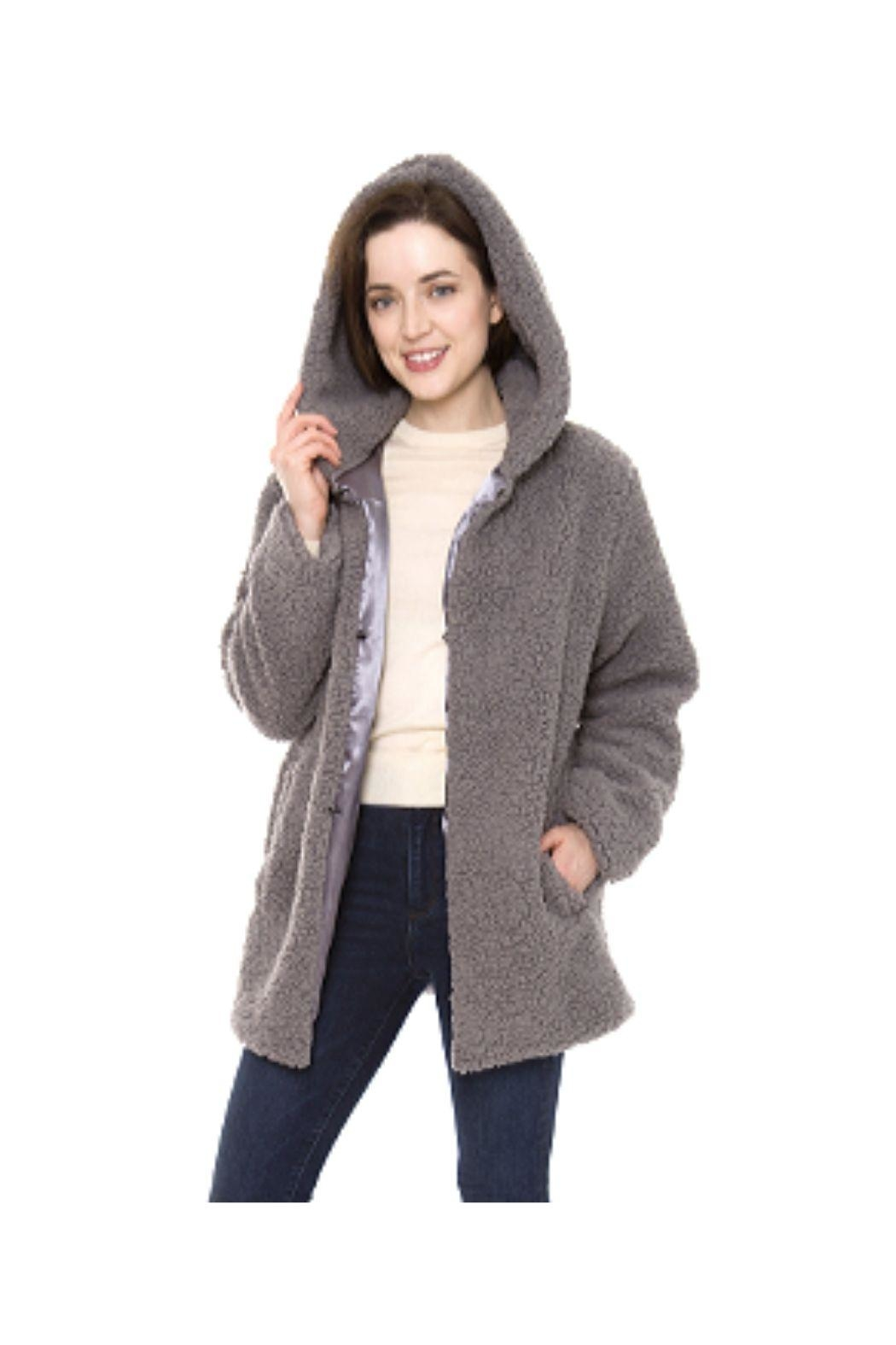 Lets Accessorize Hooded Sherpa Jacket - Front Cropped Image