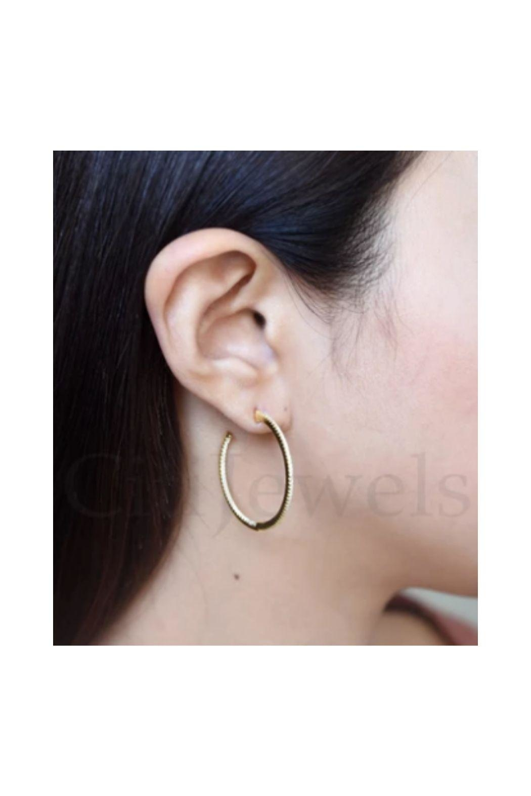 Lets Accessorize Inside Out Cz Hoops - Front Full Image