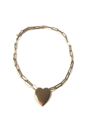 Lets Accessorize Large-Link Heart Choker - Front cropped