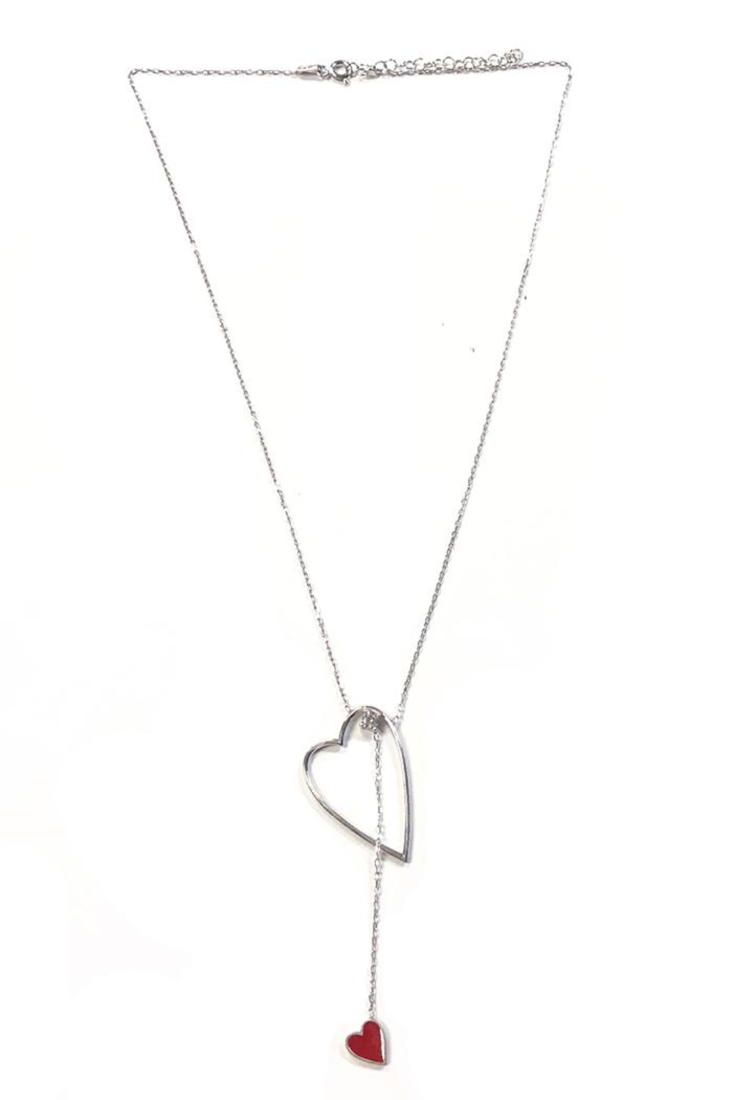 Lets Accessorize Lariat Red-Heart Necklace - Front Cropped Image
