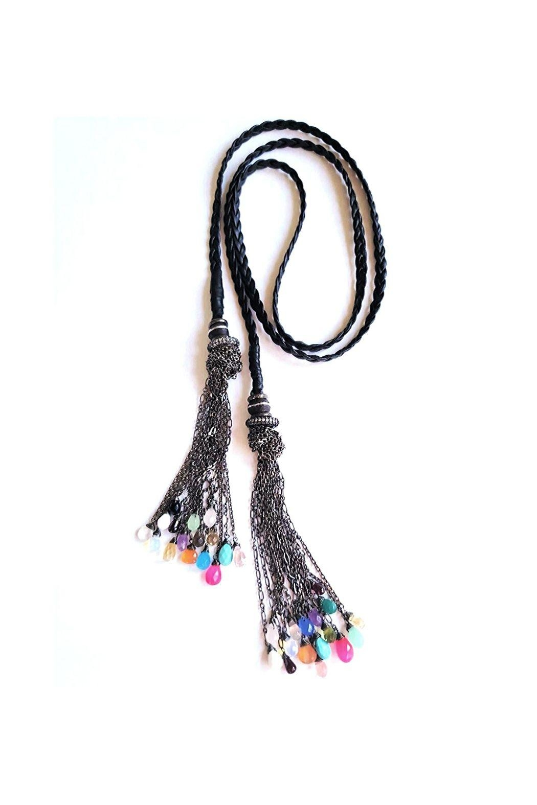 Lets Accessorize Leather Tassel Necklace - Main Image