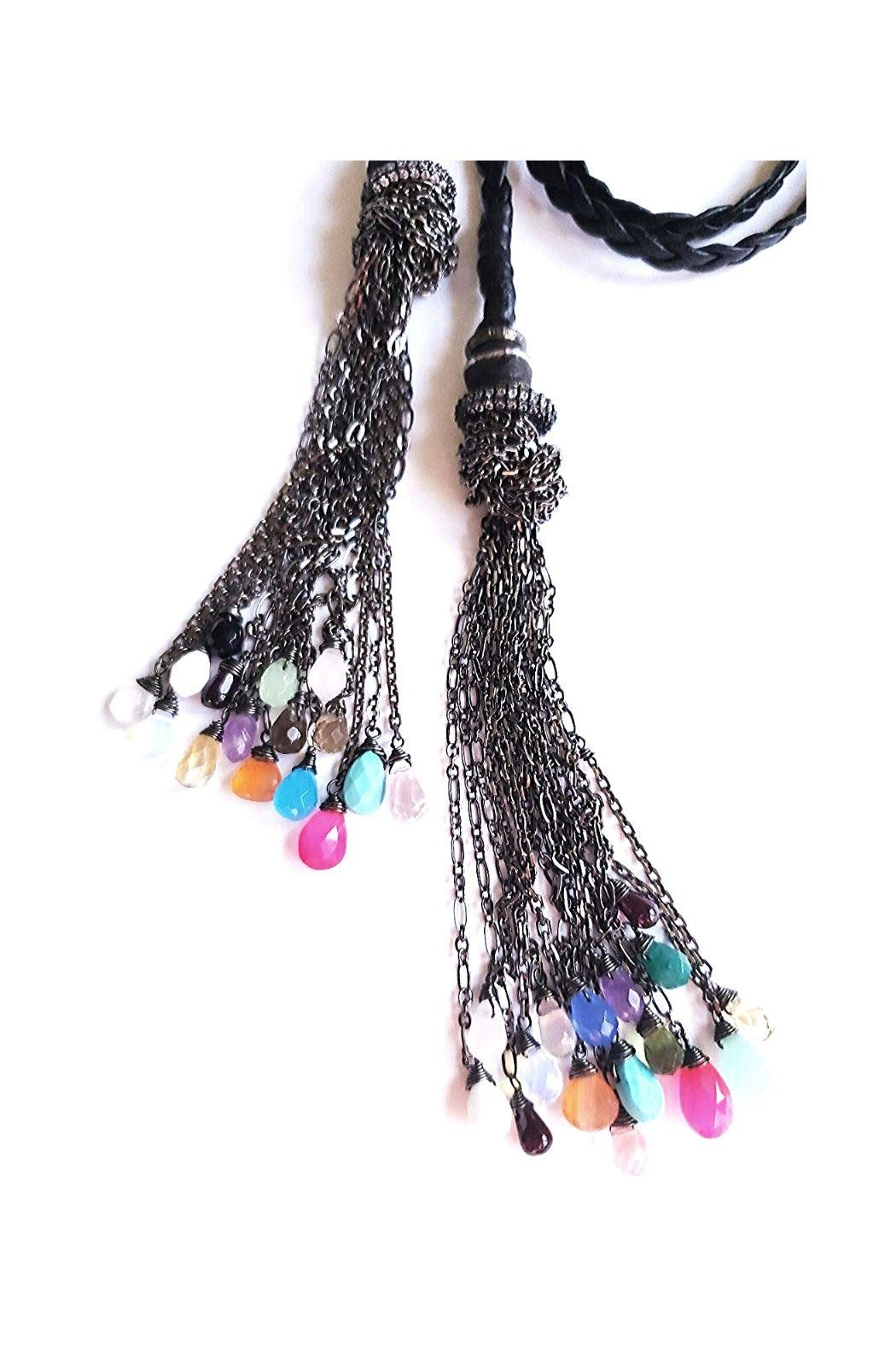 Lets Accessorize Leather Tassel Necklace - Front Full Image