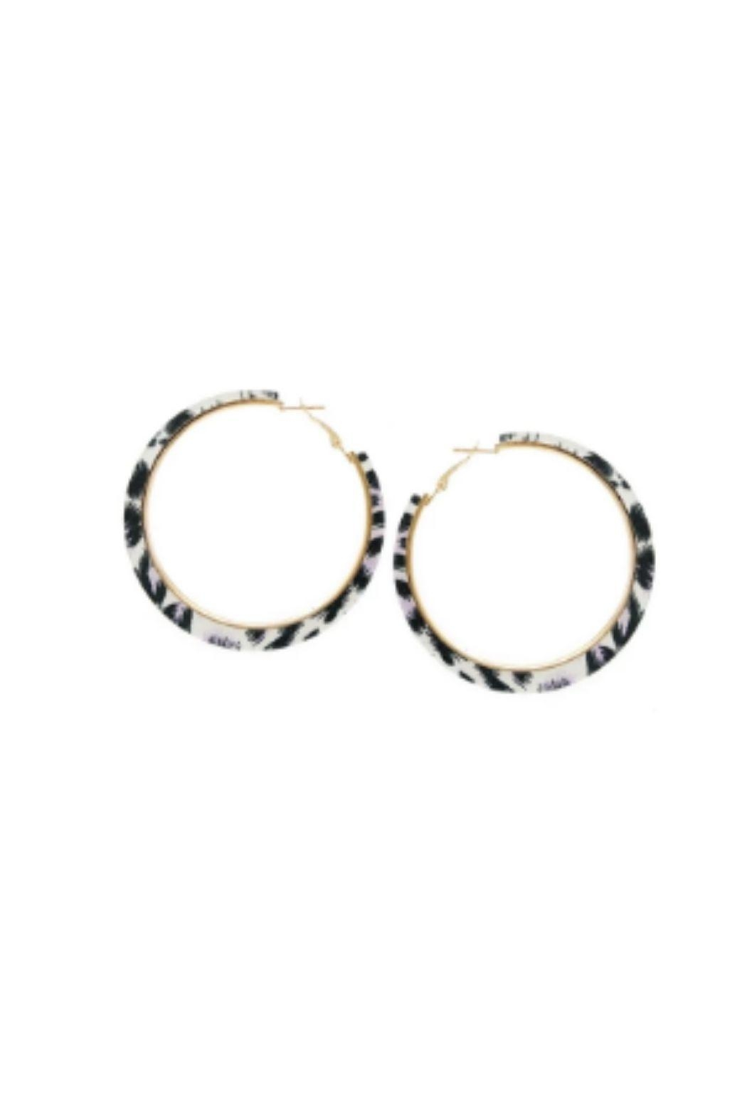 Lets Accessorize Leopard Hoop Earrings - Front Cropped Image