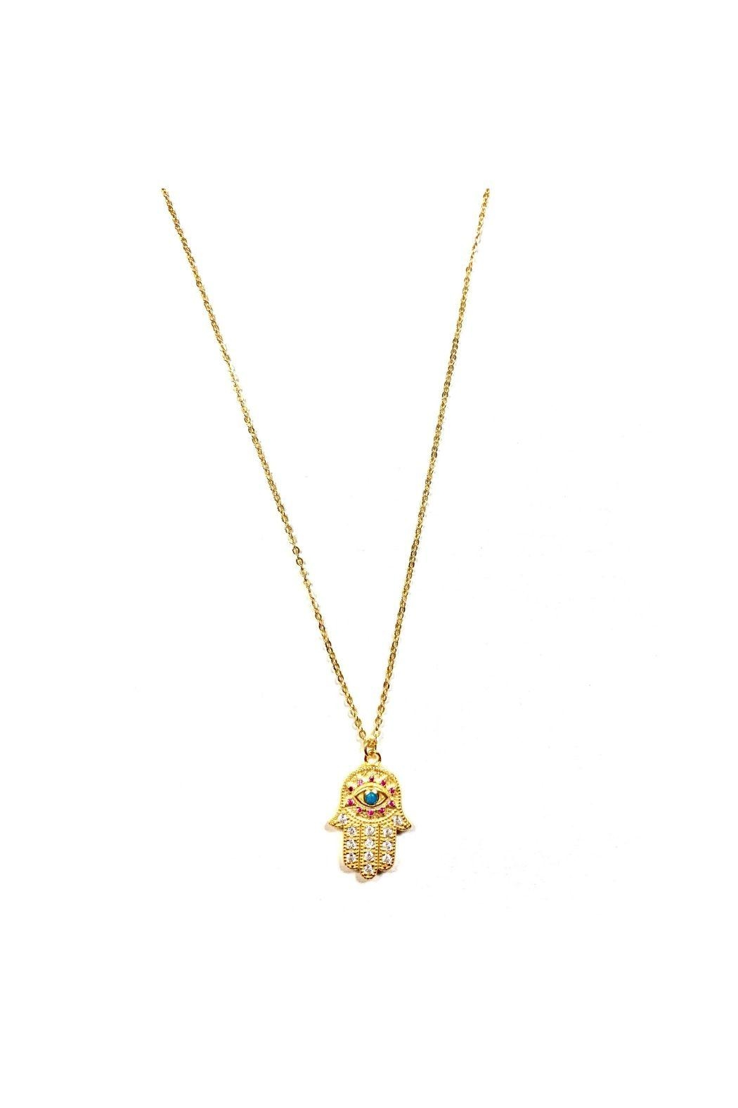 Lets Accessorize Multicolor Hamsa Necklace - Front Cropped Image