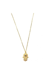 Lets Accessorize Multicolor Hamsa Necklace - Front cropped