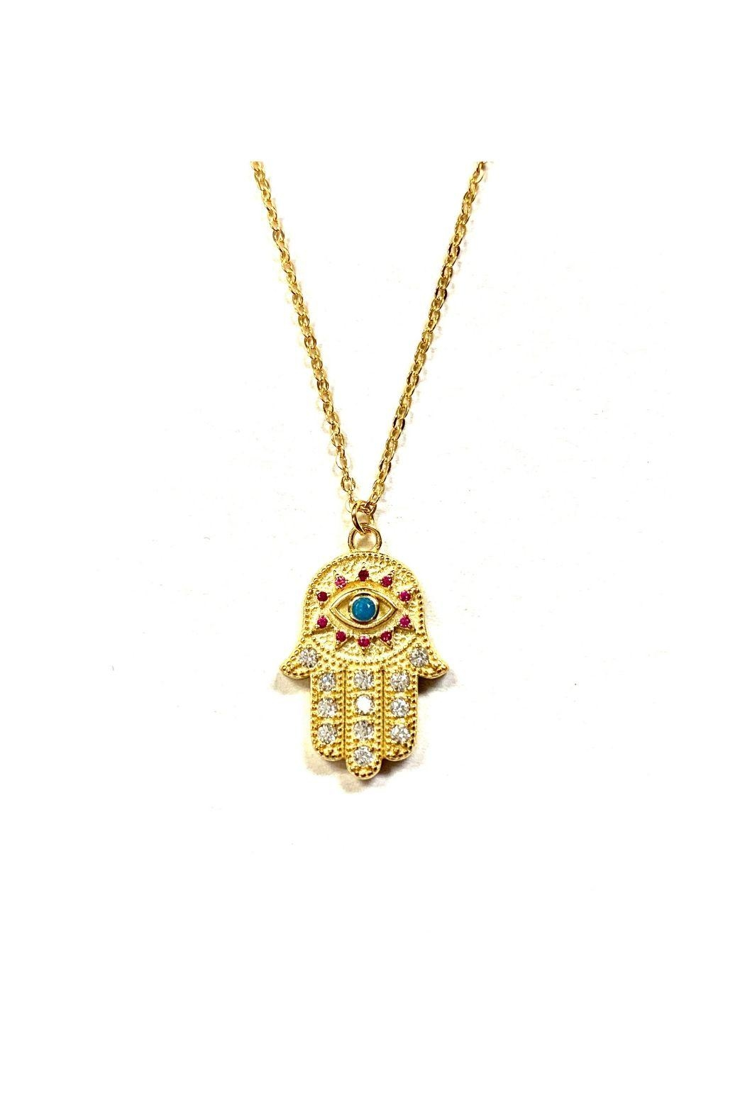 Lets Accessorize Multicolor Hamsa Necklace - Front Full Image