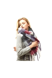 Lets Accessorize Multicolor Plaid Fringe Scarf - Front full body
