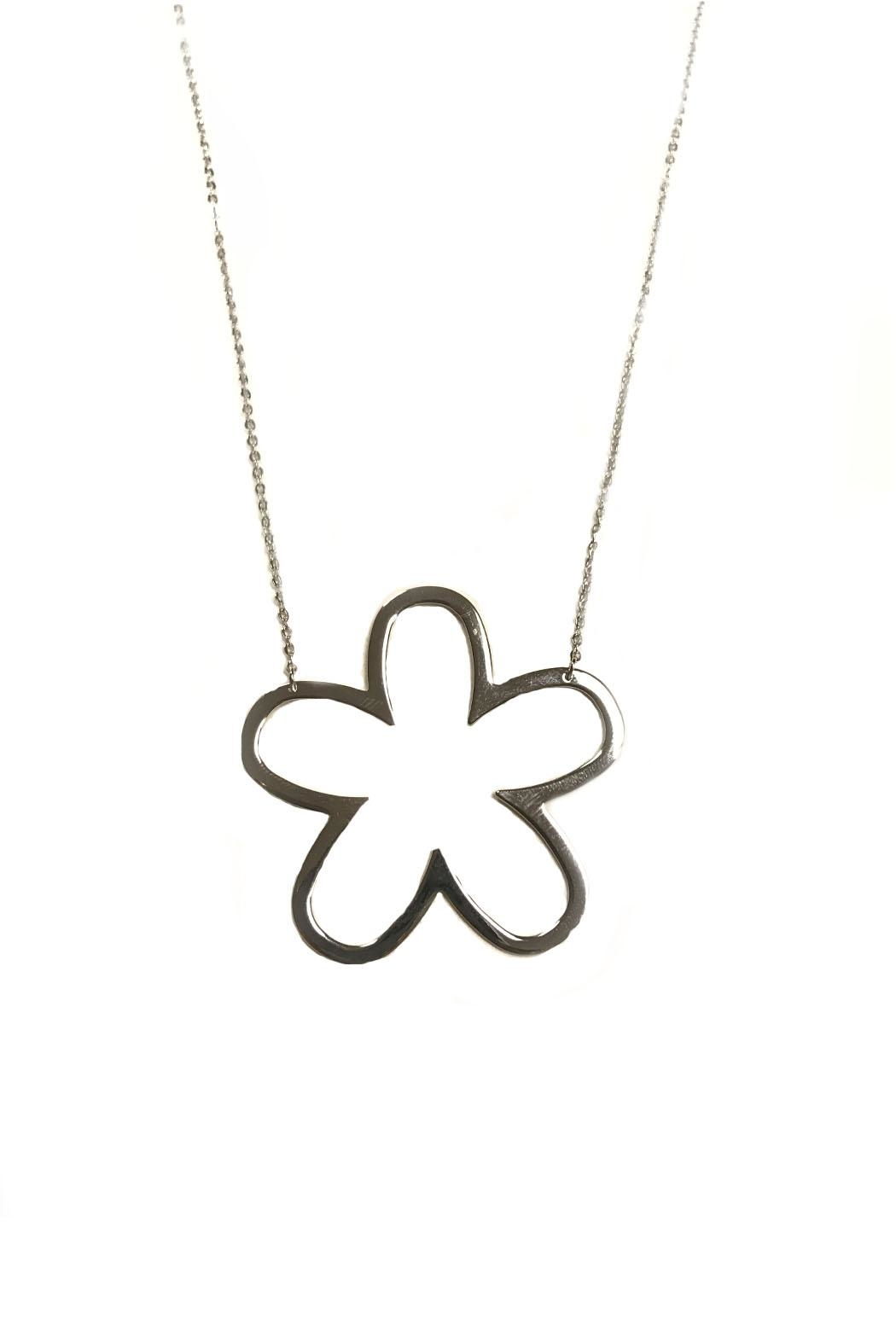 Lets Accessorize Open Flower Necklace - Front Cropped Image