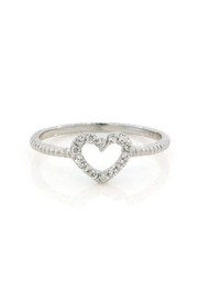 Lets Accessorize Open Pave Heart Ring - Front cropped