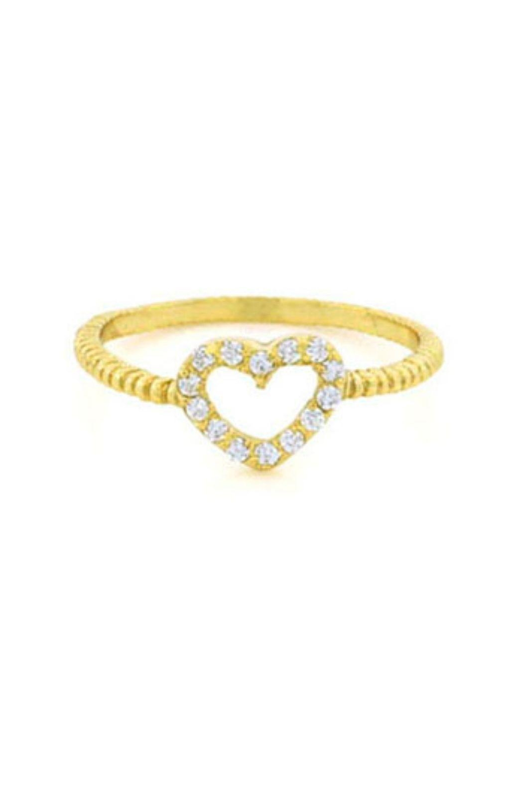 Lets Accessorize Open Pave Heart Ring - Front Cropped Image