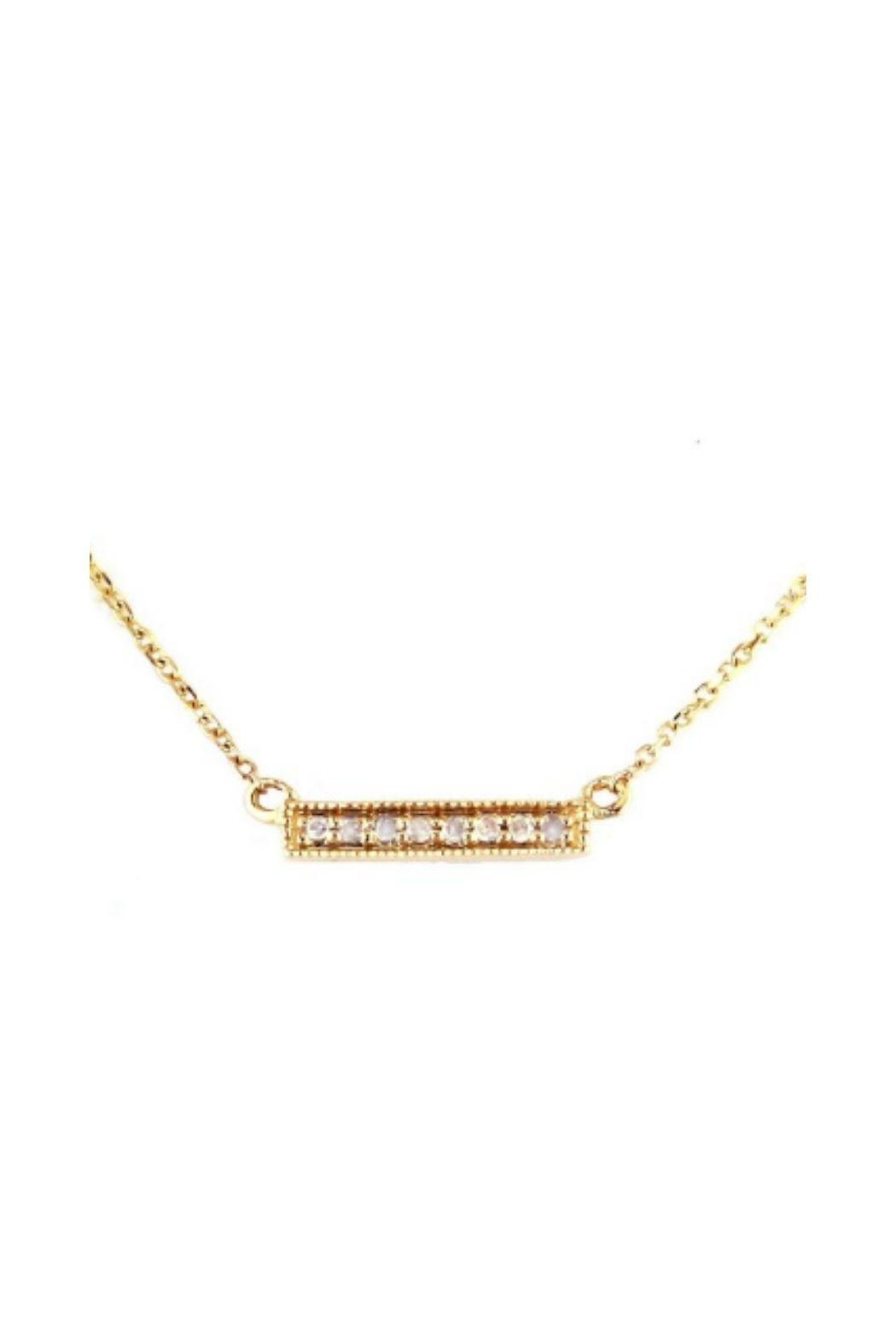 Lets Accessorize Pave Bar Necklace - Front Cropped Image