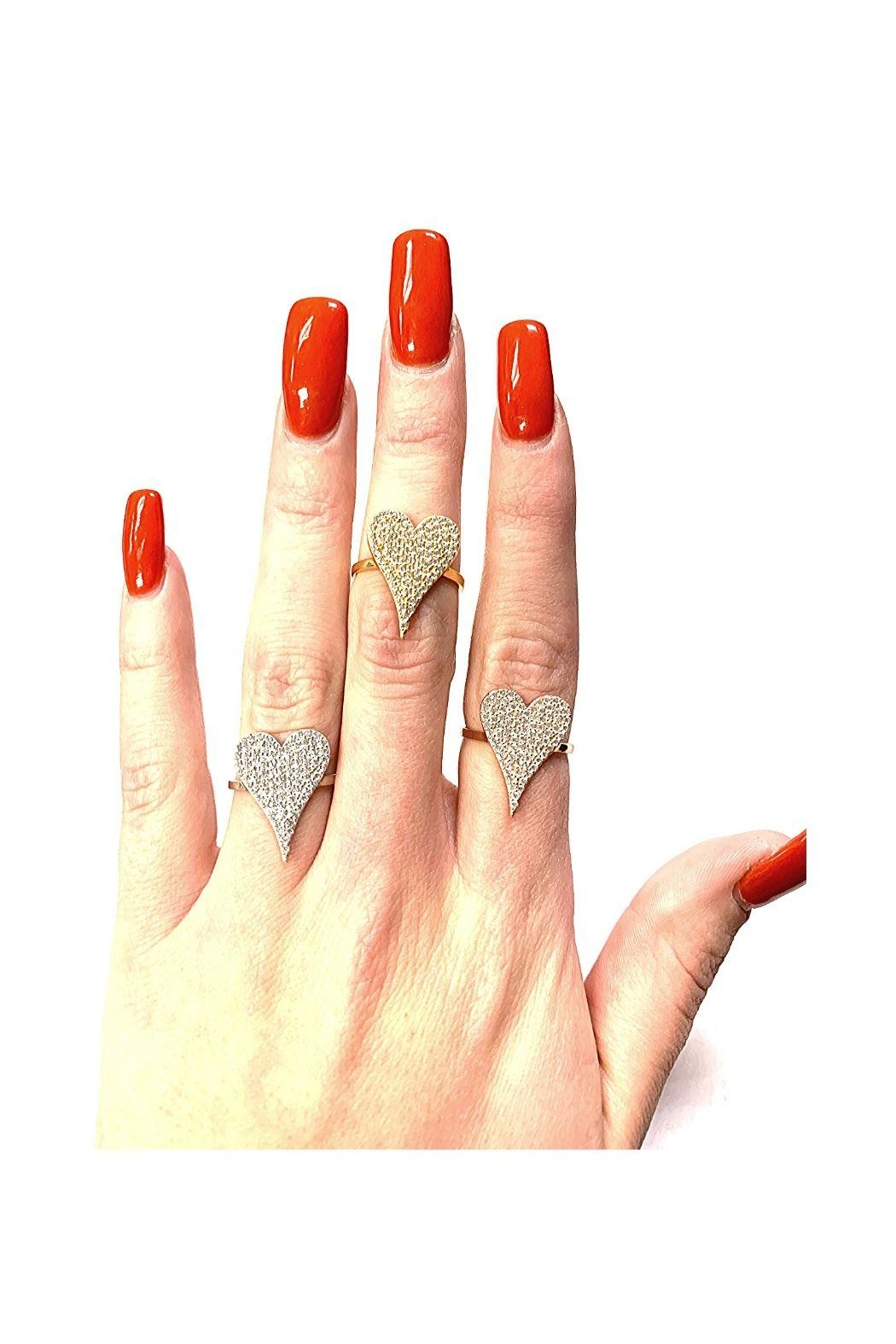 Lets Accessorize Pave Heart Ring - Front Full Image