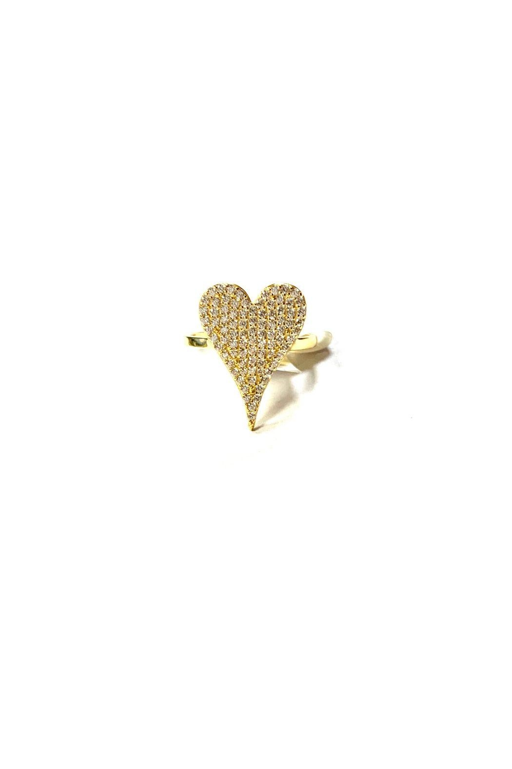Lets Accessorize Pave Heart Ring - Front Cropped Image