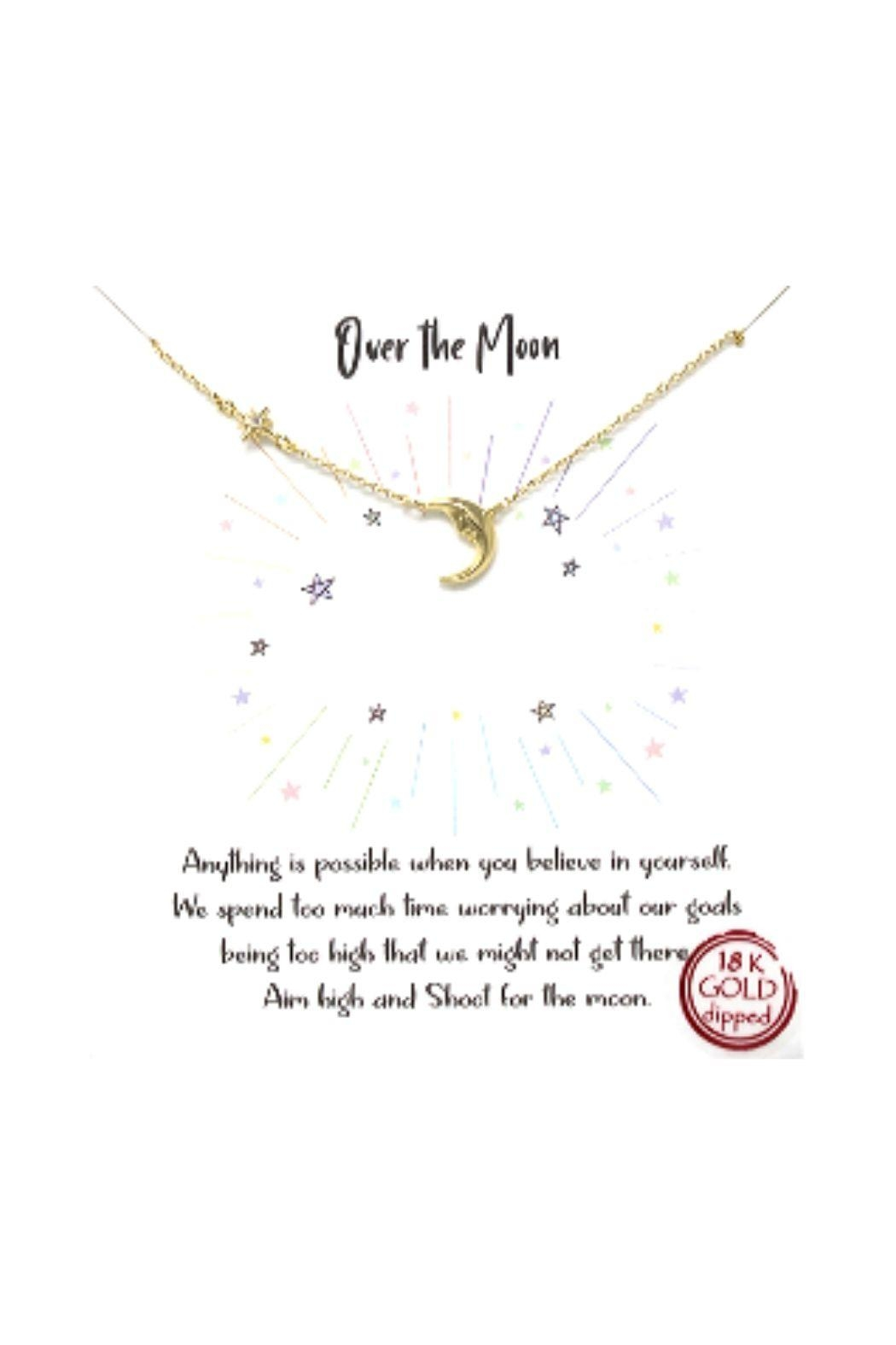 Lets Accessorize Pave Star And Moon Necklace - Front Cropped Image