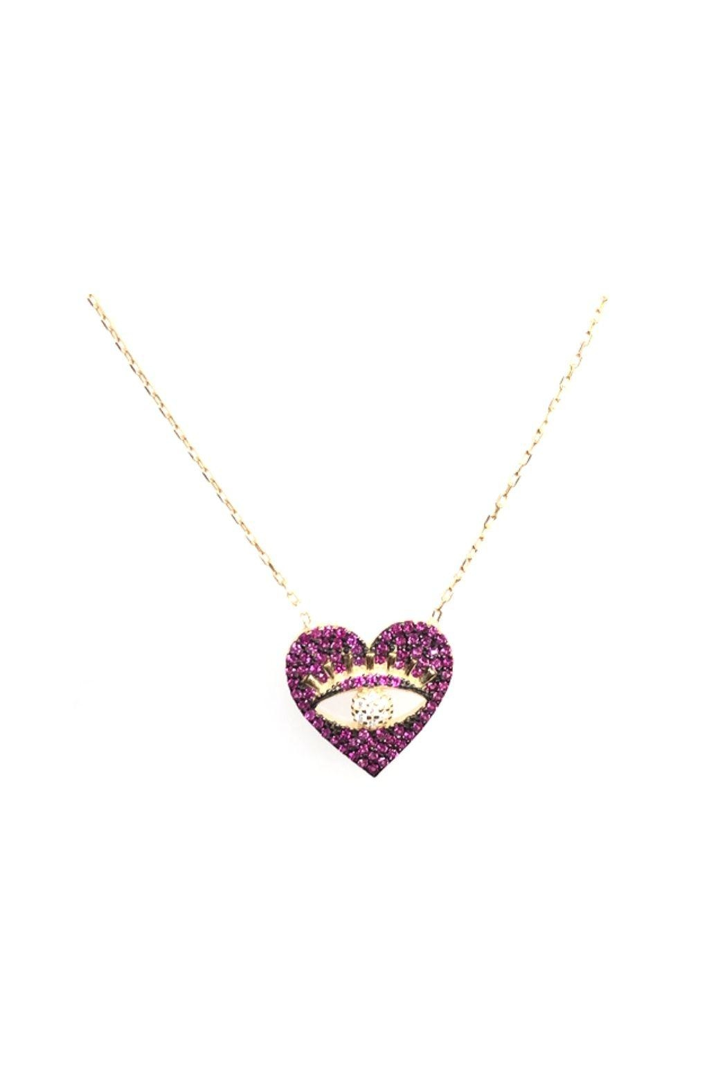 Lets Accessorize Pink Cz Eye Heart Necklace - Main Image