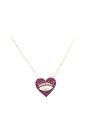 Lets Accessorize Pink Cz Eye Heart Necklace - Product Mini Image
