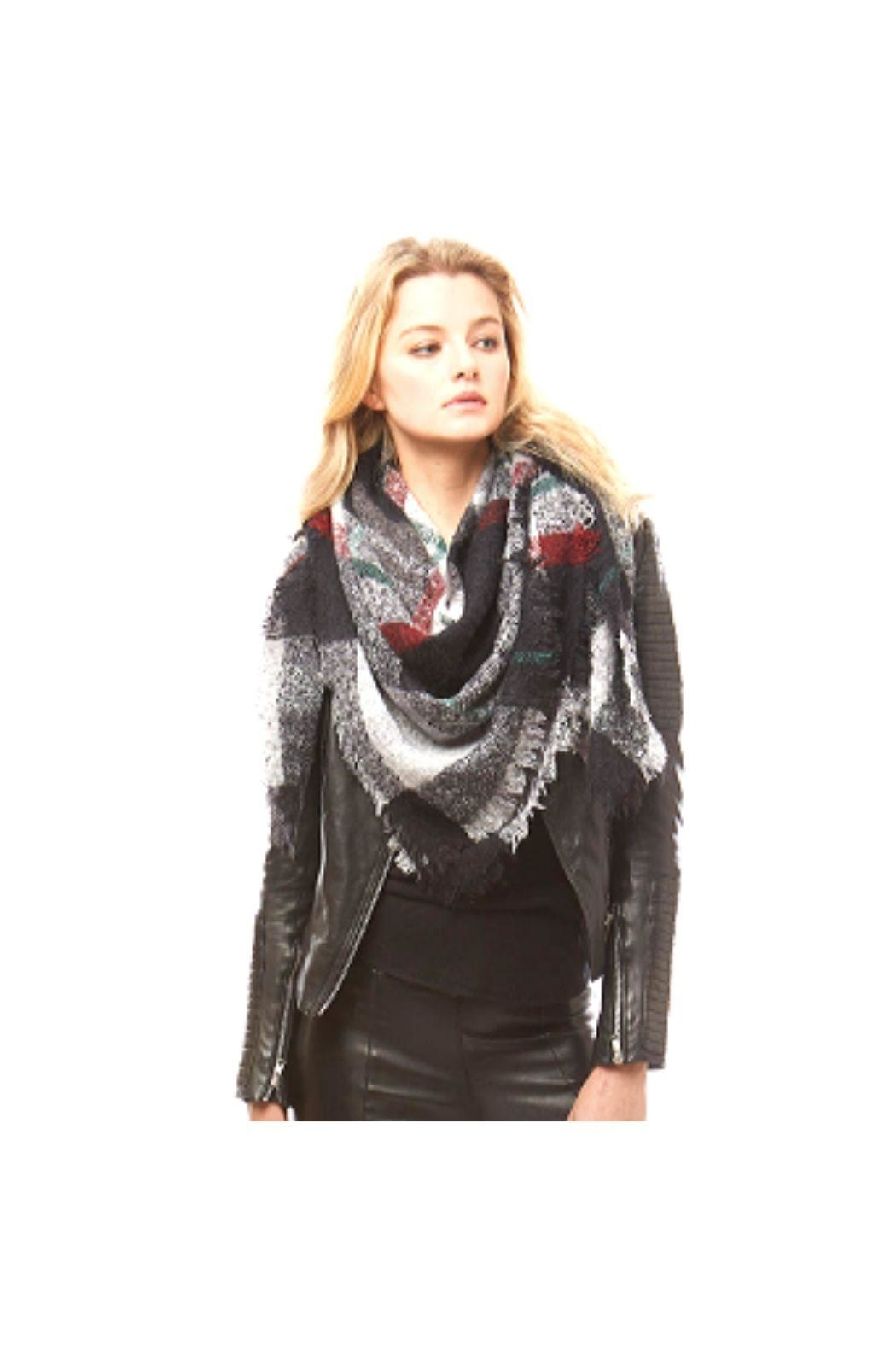 Lets Accessorize Plaid Banket Scarf - Front Cropped Image