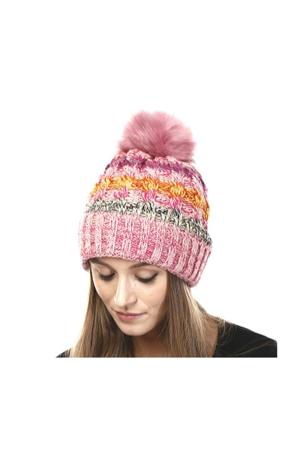 Lets Accessorize Pom Pom Hat - Front Cropped Image