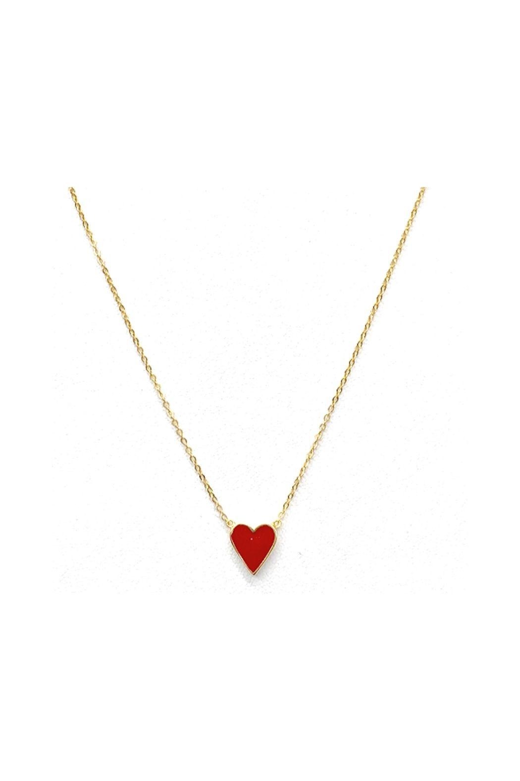 Lets Accessorize Red Heart Necklace - Main Image