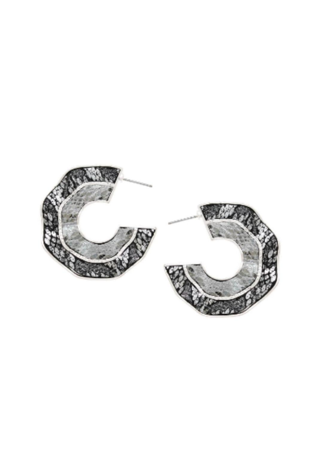 Lets Accessorize Reptile Texture Hoops - Main Image
