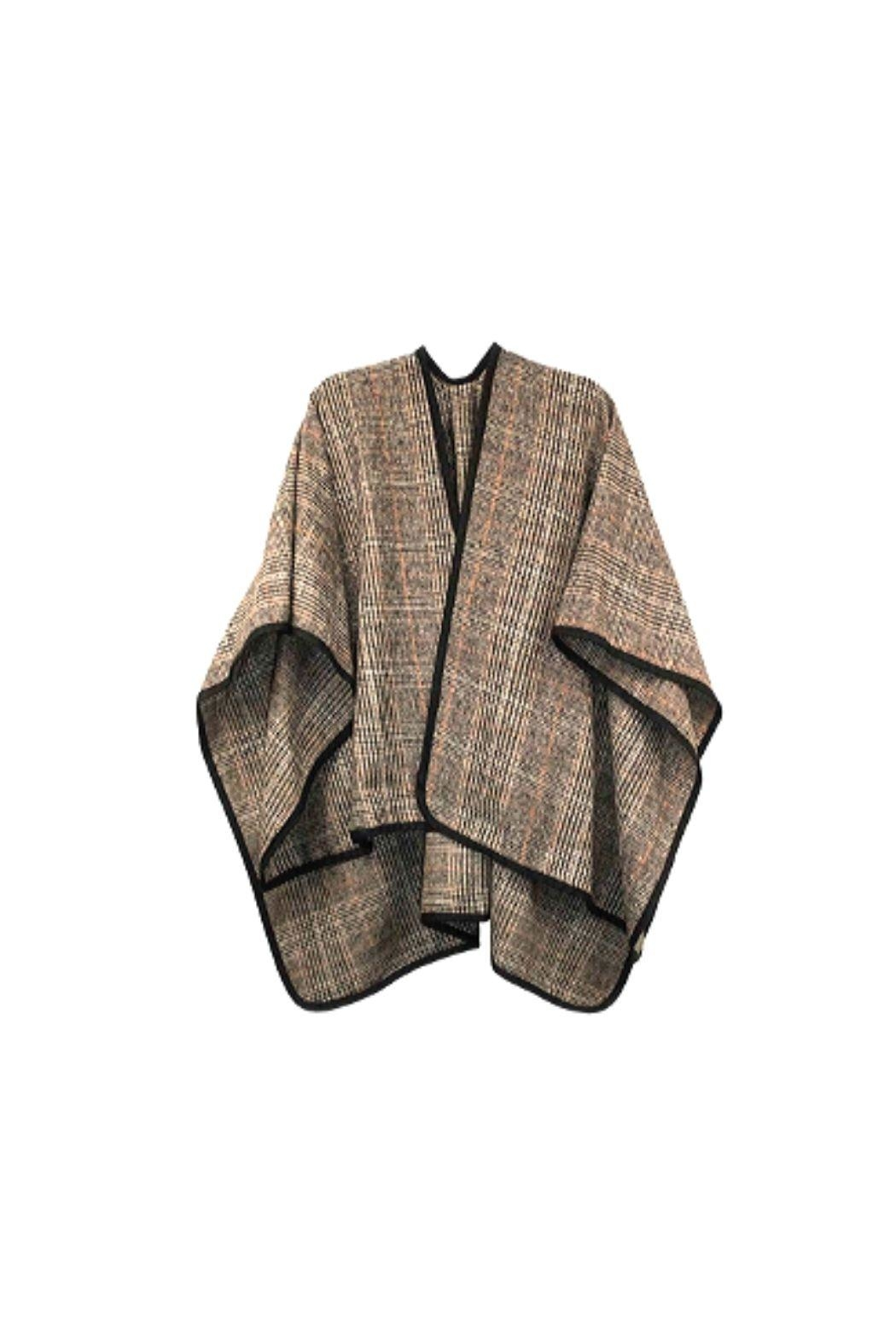 Lets Accessorize Reverisble Plaid Poncho - Front Cropped Image