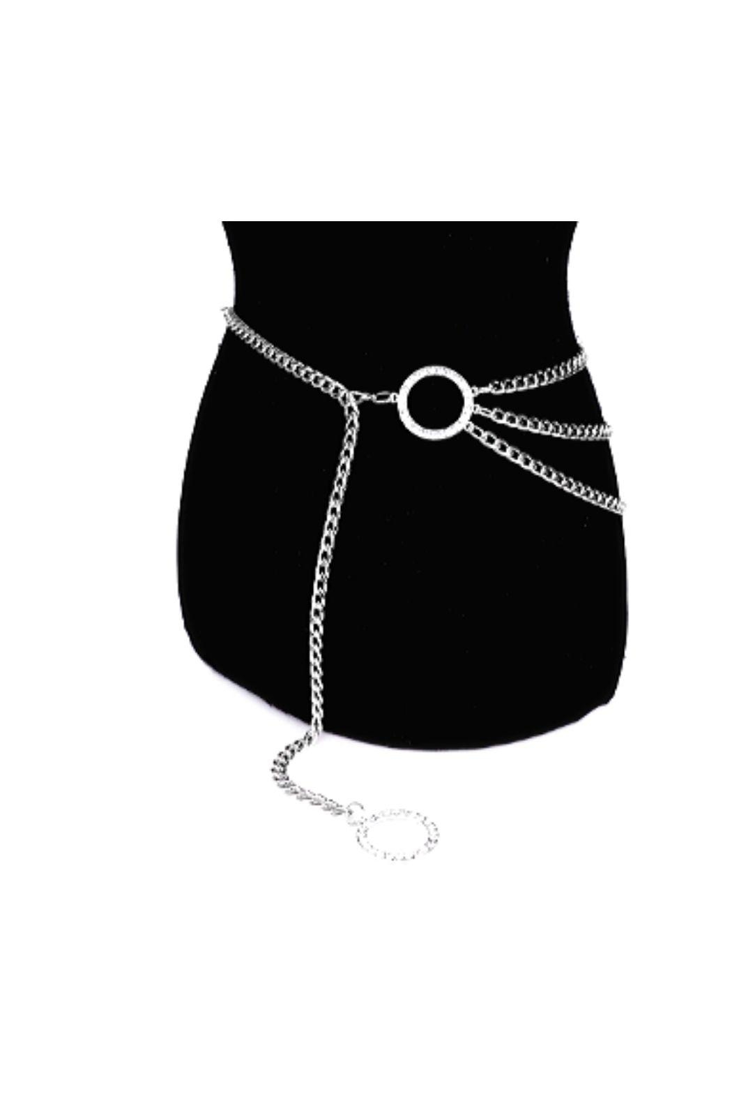 Lets Accessorize Rhinestone Layer Chain Belt - Front Full Image