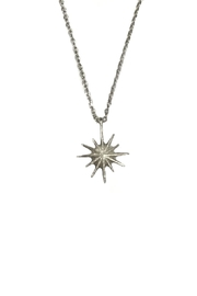 Lets Accessorize Silver Starburst Necklace - Front full body