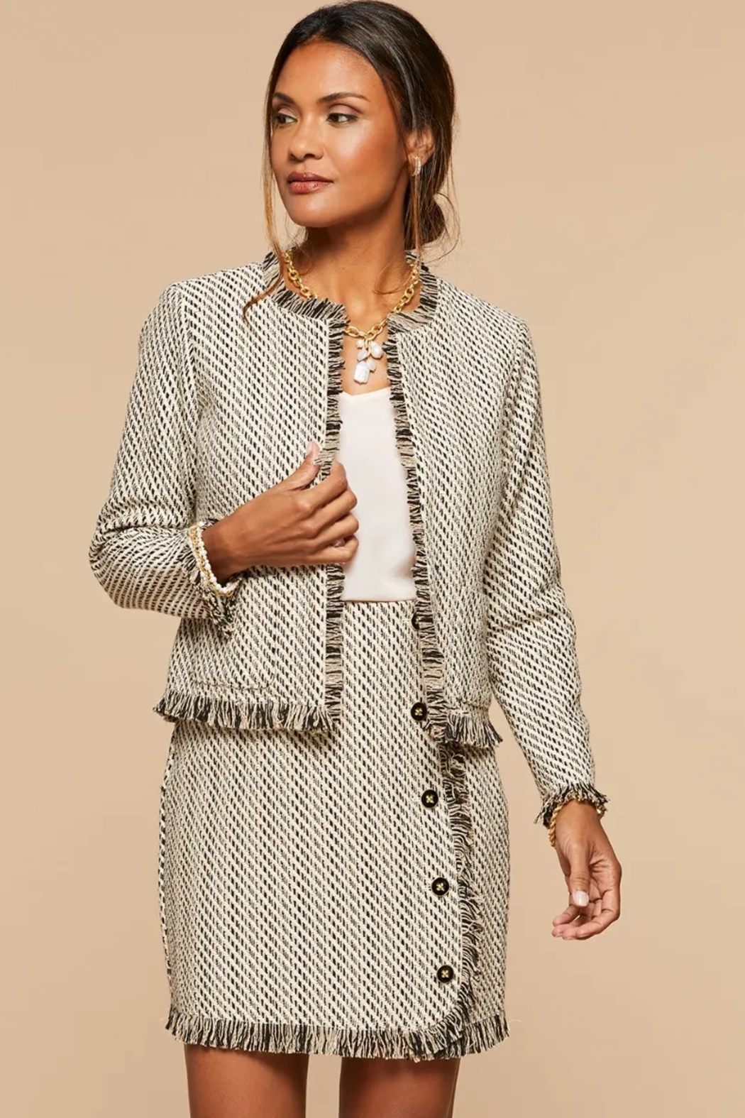 Spartina 449 Lettie Tweed Jacket - Front Cropped Image